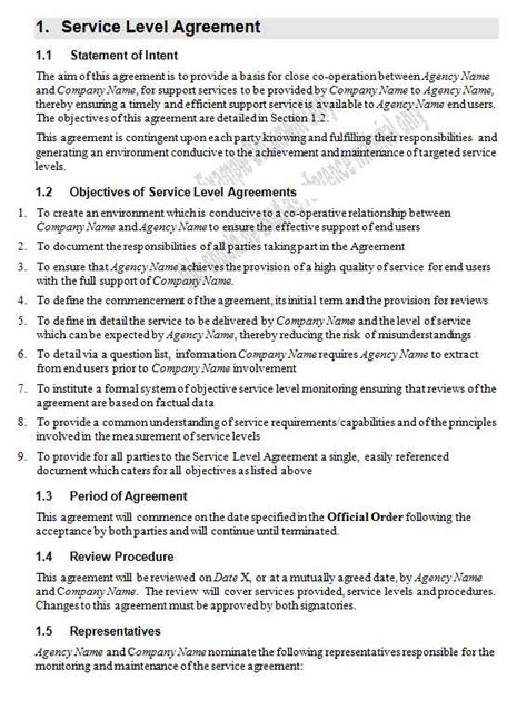 service agreement template word service level agreement template