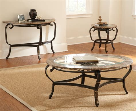 Coffee Table Sets Glass Steve Silver Gallinari 3 Marble Coffee Table Set W Glass Insert Beyond Stores