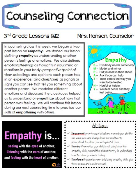 Hanselor The Counselor Empathy Part 1 School Counseling Brochure Template