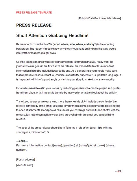 Press Release Template Press Release Outline Template