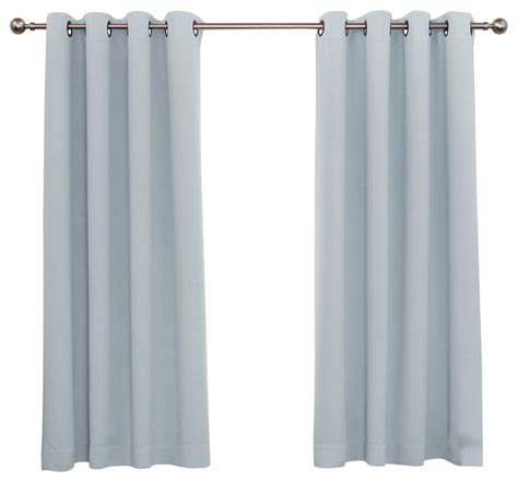 Sky Blue Curtains Solid Grommet Top Thermal Insulated Blackout Curtains 1 Pair Sky Blue 63 Quot Contemporary