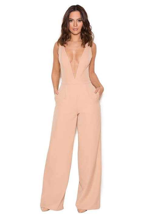 Marwa Maxy By Mazel Cloth clothing jumpsuits marwa blush v wide leg