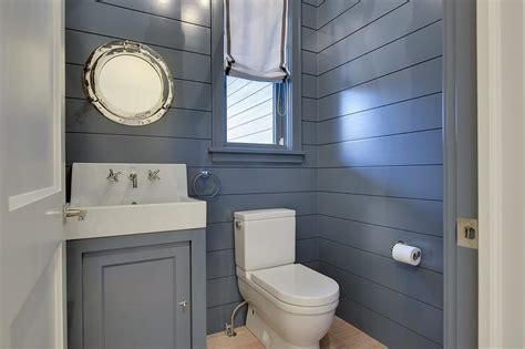 shiplap mirror blue shiplap powder room cottage bathroom