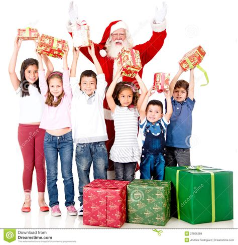 gift children santa giving gifts royalty free stock photos