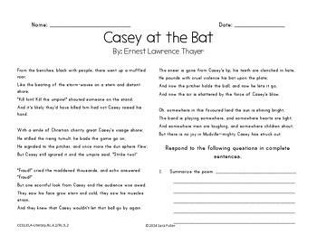 printable version of casey at the bat included are assignment sheets for quot casey at the bat quot the