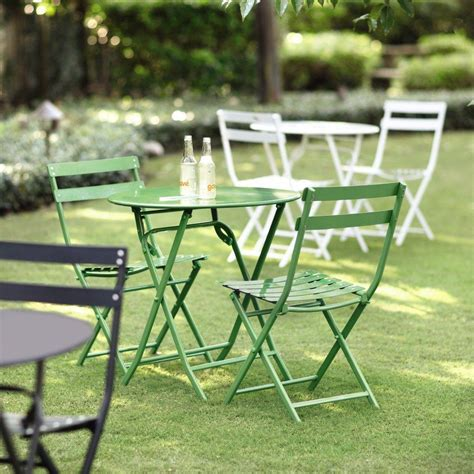 Home Decorators Collection Follie Green 3 Piece Outdoor Patio Bistro Table Set