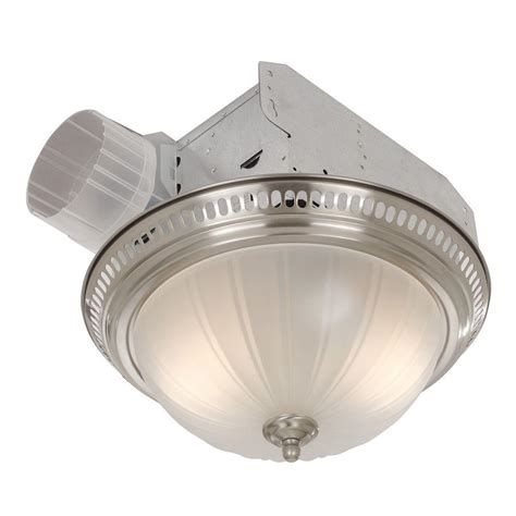 ceiling fan bathroom broan decorative satin nickel 70 cfm ceiling bath fan with light and glass globe 741sn the