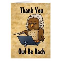 owl be bach thank you hospitality card zazzle