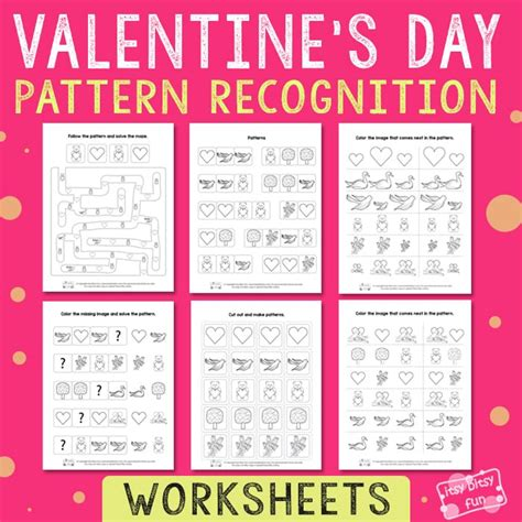 auditory pattern recognition activities valentine s day pattern recognition worksheets itsy