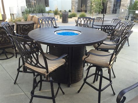 Patio Table Height Bar Height Patio Set With Pit Chairs Seating