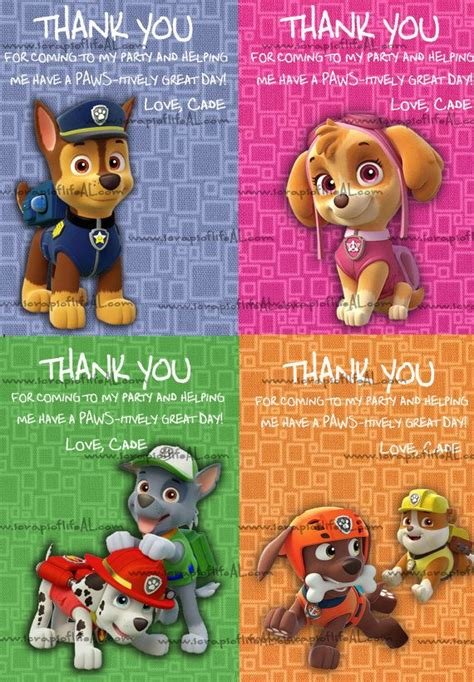 paw patrol thank you card template 107 best paw patrol birthday images on