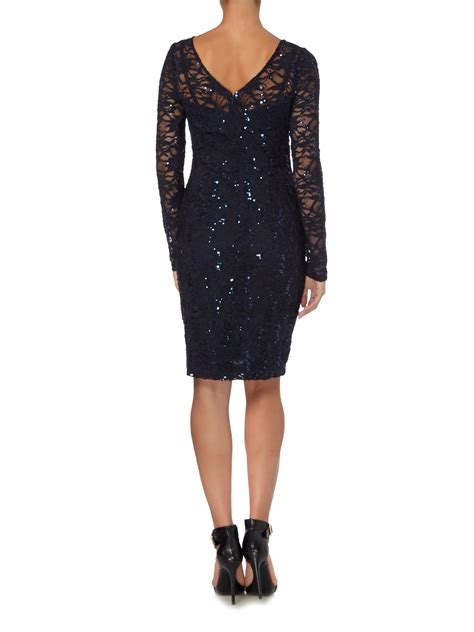 Dress With Sequin lyst js collections sleeve dress with sequin lace