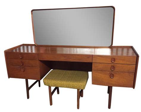 mid century vanity desk mid century modern teak vanity desk stool chairish