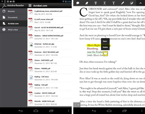 adobe reader android adobe reader la mise 224 jour 10 6 0 d 233 barque sur android