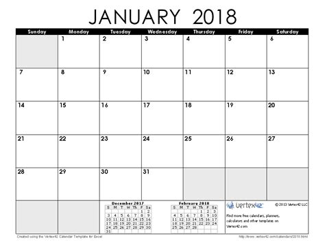 printable daily calendar january 2018 2018 calendar templates and images