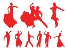 Flamenco dancers silhouettes