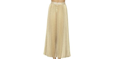 katz pleated maxi skirt in metallic lyst
