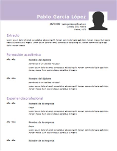 Modelo De Curriculum Vitae Cronologico Word Modelos De Curriculum Vitae 50 Dise 241 Os Para Rellenar Gratis