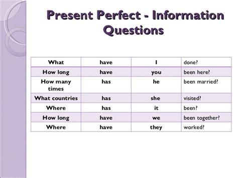 preguntas con present perfect already present perfect tense