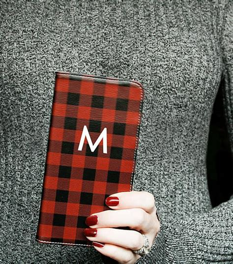 personalized phone wallet case buffalo plaid iphone