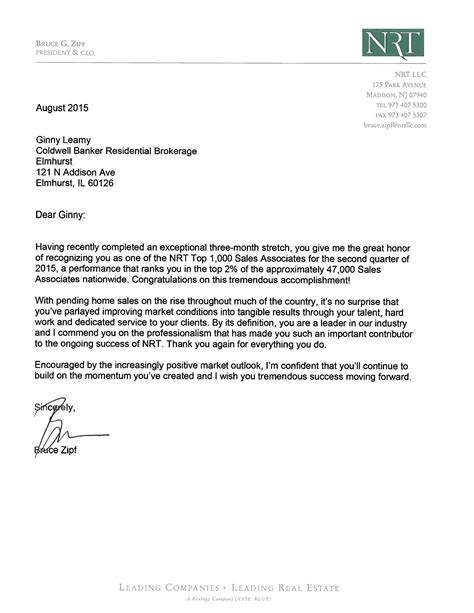 Thank You Letter For Banker Thank You Bruce Zipf Nrt And Coldwell Banker