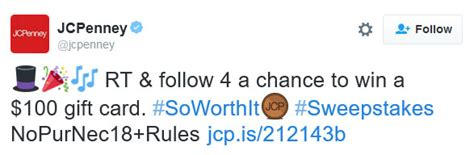 Jcpenney Sweepstakes - jcpenney soworthit twitter sweepstakes