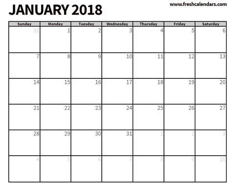 printable monthly calendar for january 2018 free printable calendar of january month printable 2018