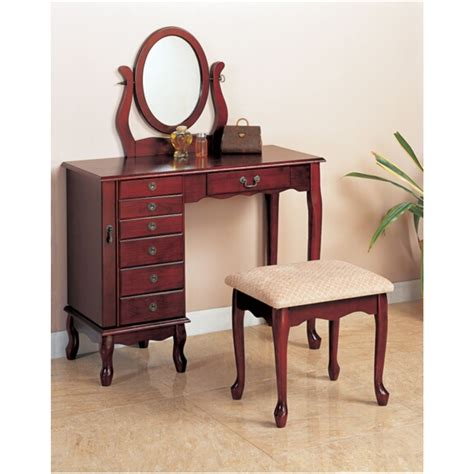 vanity and jewelry armoires 3 pc cherry finish wood bedroom makeup vanity set with