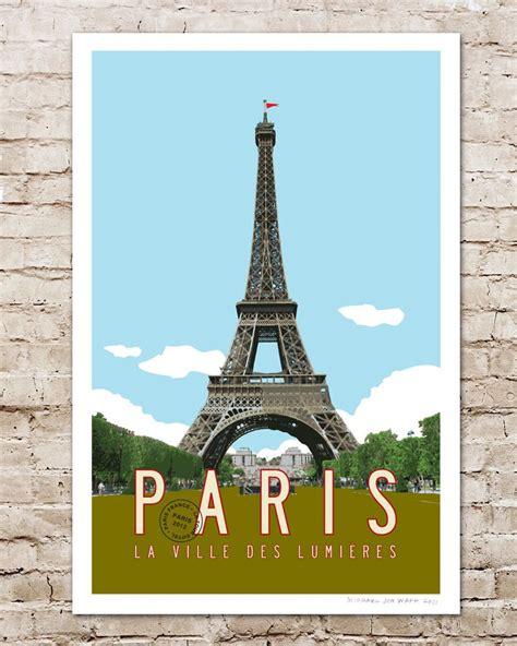 Eiffel Tower Poster travel poster eiffel tower illustration