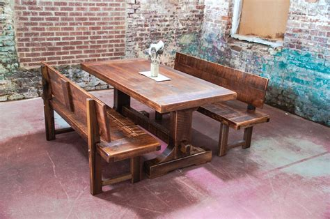rustic kitchen table with bench seating narrow solid wood distressed trestle dining table with benches with back for rustic