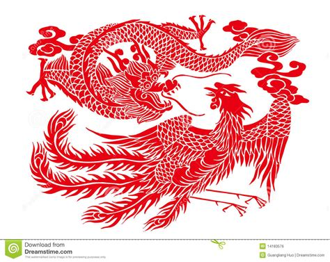 chinese paper cutting auspicious dragon and phoenix tattoo