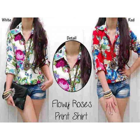 Kemeja Casual Cewek kemeja wanita casual roses bj105 baju atasan motif print