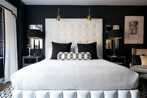 black interiors headboards black and white interiors