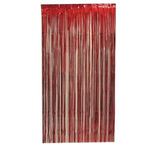 curtain tinsel foil 90 x 200cm red pk1 tinsel werks