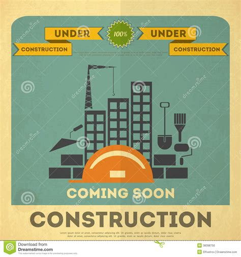 construction prints under construction poster design stock photo image 38398750