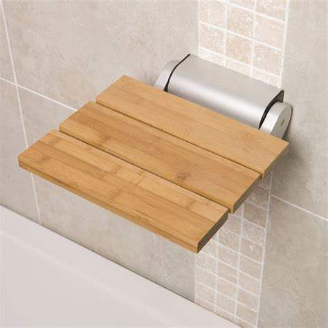 modern shower bench bamboo wooden folding shower bathroom fixture seat bathroom accessory contemporary