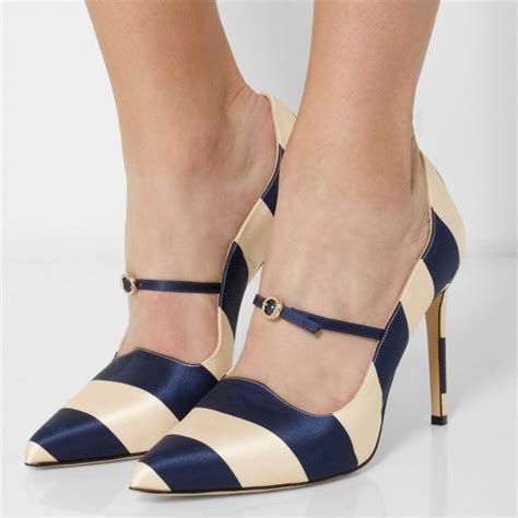 Top Five Navy Heels by Navy And Beige Stripes 3 Inch Heels Stiletto Heel Pumps