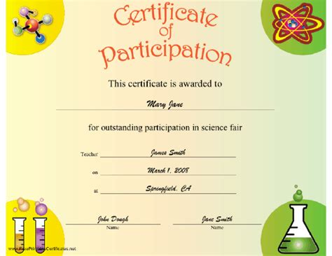 science fair participation certificate girlshopes student