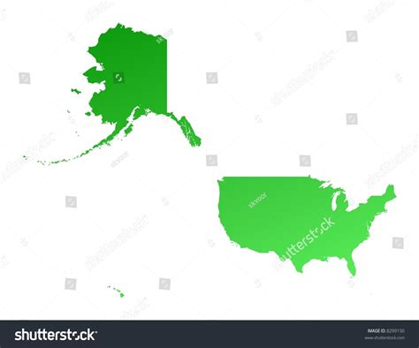 united states map projection green gradient united states map detailed stock