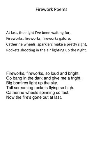 fireworks poems by crunchynut17 uk teaching resources tes