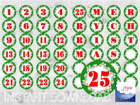 printable advent calendar labels countdown to christmas printable advent calendar