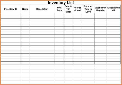 inventory list template excel 3 printable inventory spreadsheet excel spreadsheets