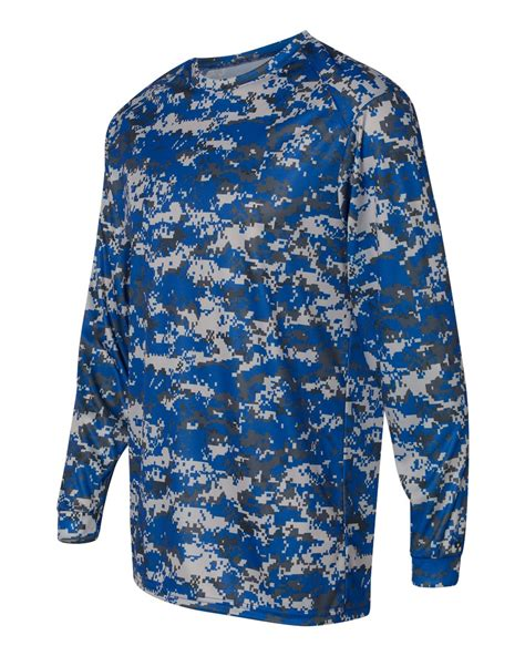 B 42162 Polos badger mens polyester b digital camo sleeve