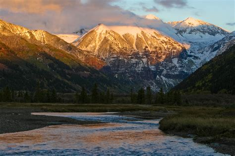 Search Colorado Mountains Near Telluride Painted Gold By A Colorado Sunset Colorado