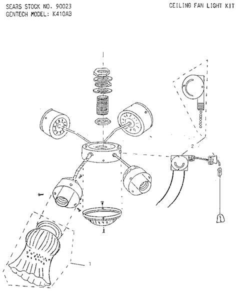 ceiling light parts gentech ceiling fan light kit parts model k410ab sears