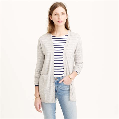 Pocket Sweater j crew collection featherweight pocket cardigan sweater in gray lyst