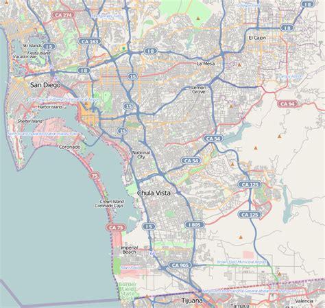 southern california map cities san carlos san diego
