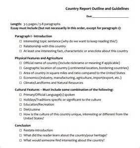 country report template report outline template 10 free sle exle format