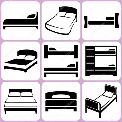 bed vector bed icons set stock vector 169 alisher 34663611