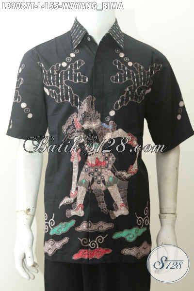 Dijamin Kemeja Hem Batik Pria Wayang Susun 1 hem batik pria paling di cari kemeja batik wayang bima lengan pendek dasar hitam cocok buat